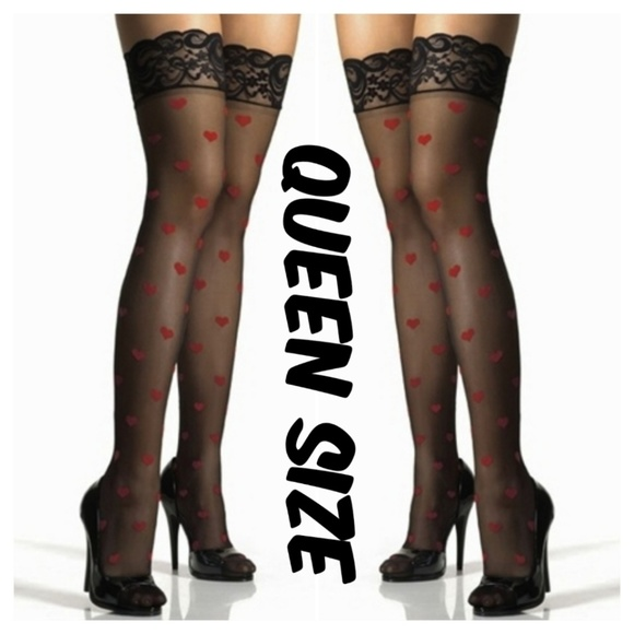 666cb8f9161 Valentines Heart Plus Size Thigh High Stockings